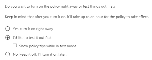 test policy screenshot