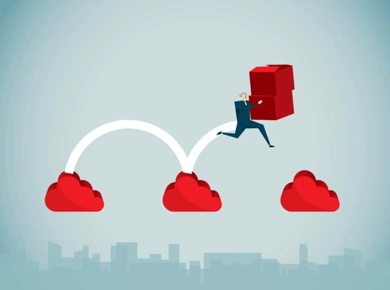 man carrying boxes jumping from cloud to cloud graphic