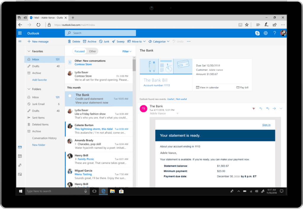 Outlook Online Surface