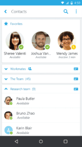 Skype for Business mobile interface