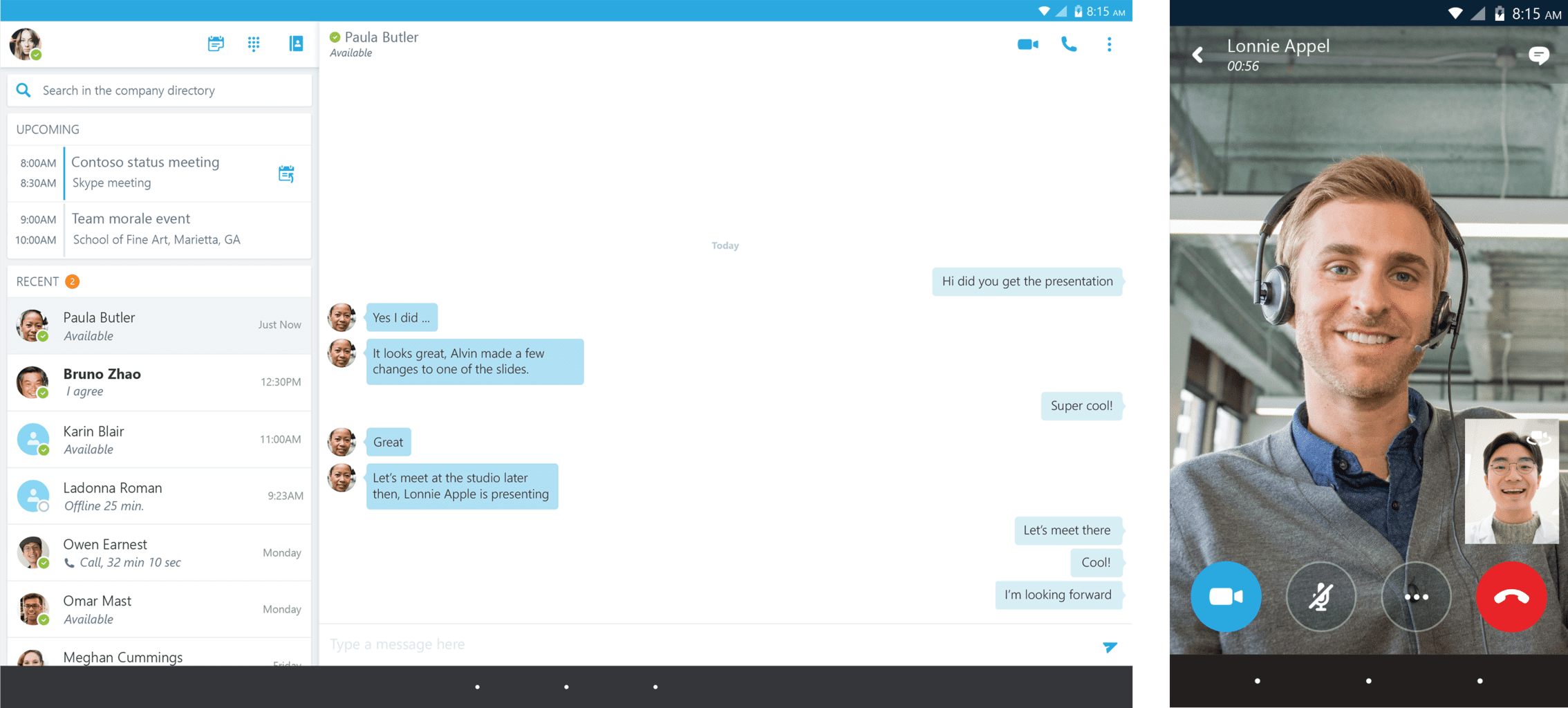 Skype for Business chat interface
