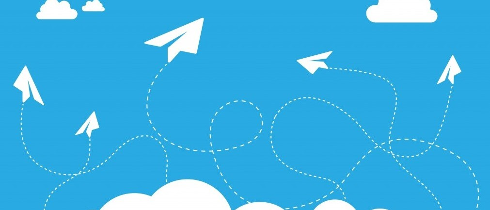 cloud paper plane graphic
