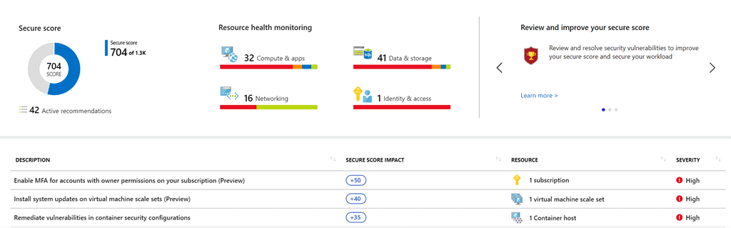 azure dashboard screenshot