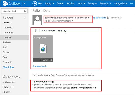 outlook patient data screenshot