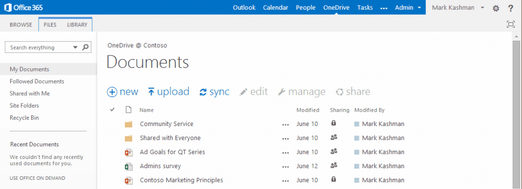 sharepoint admin center my docs screenshot