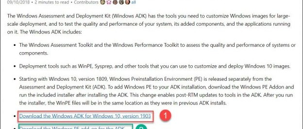 download and install the windows ADK