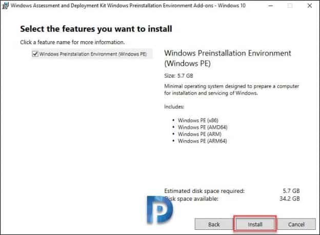 features to install screenshot