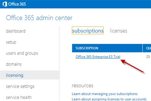 office 365 admin center subscription