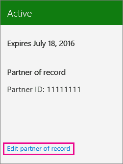 office 365 partner of record
