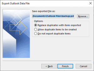 export a pst in office 365